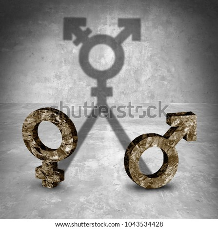 Gender neutral and transgender sexuality identity concept as a male and female symbol casting a shadow in a 3D illustration style.