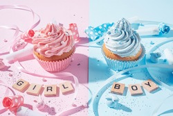 gender party. boy or girl. two cupcakes with blue and pink cream, celebration concept when the gender of the child becomes known
