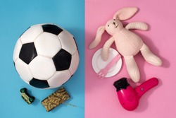 Gender stereotype toys on pink and bluebackground