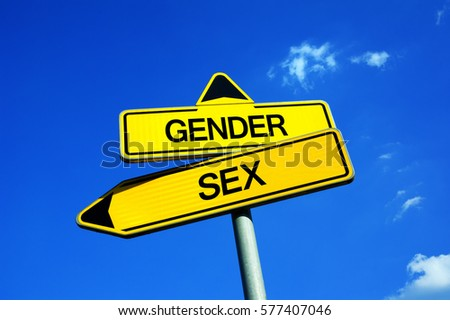 Gender vs Sex - Traffic sign with two options - identification and characteristics based on biology vs difference of man and woman as social construct. Innate vs acquired quality and character