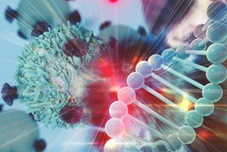 Gene Therapy for Cancer Treatment Concept Cancer therapy with T-cell and DNA