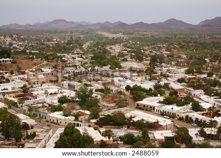 general aerial view of the town of Alamos, in the northern state of Sonora, Mexico, Latin America