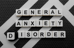 General Anxiety Disorder, word cube with background.