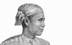 General Aung San, nationalist and founder of the modern Burmese army.  Portrait from Myanmar 75 Kyats 1985 Banknotes.