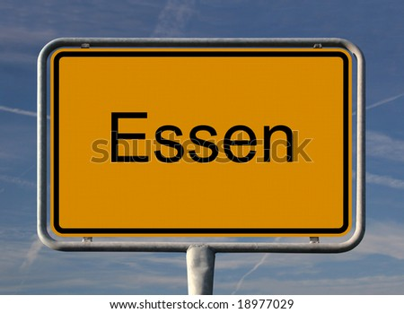 General city entrance street sign of Essen, European Capital of Culture 2010. The german city Essen will be together with the Ruhr area the european center of culture.