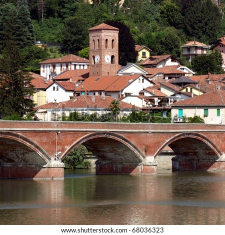 General city view of San Mauro Torinese on River Po