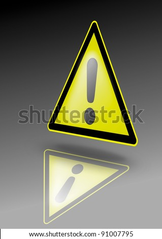 General danger warning sign. Exclamation mark on yellow triangle. Illustration for dangerous environment or special risks