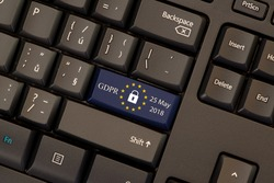 General Data Protection Regulation (GDPR) on keyboard button