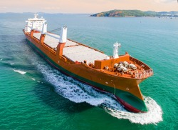 general heavy project cargo vessel on the route of sailing to the destination port