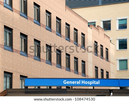 General hospital building with sign