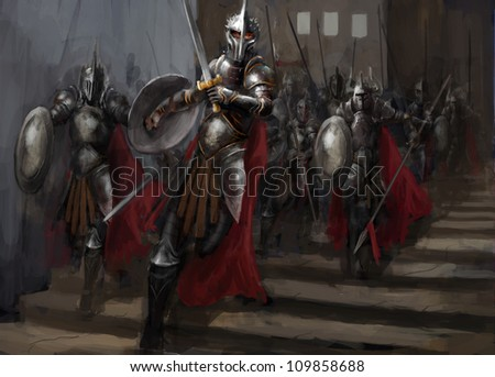 general leading his army in war