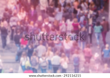 General Public Opinion Blur Background, Aerial View with Unrecognizable Crowded Population Out of Focus, Blurred Crowd of People On City Street, Vintage Toned Image.