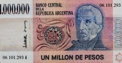 General San Martin, Portrait from Argentina 1 Million Pesos 1981 Banknotes. An Old paper banknote, vintage retro. Famous ancient Banknotes. Collection.