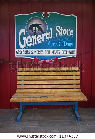 General Store sign behind bench