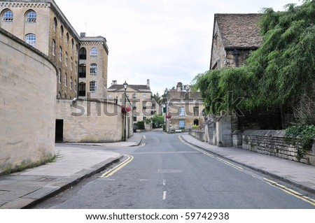 General Street View in an English Town - stock photo
