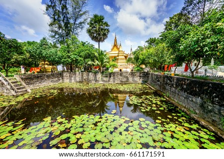 General view in Khmer pagoda at Chau Doc, An Giang, Vietnam