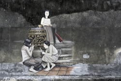 General view of a mural street art on wall in Songkhla province, Thailand