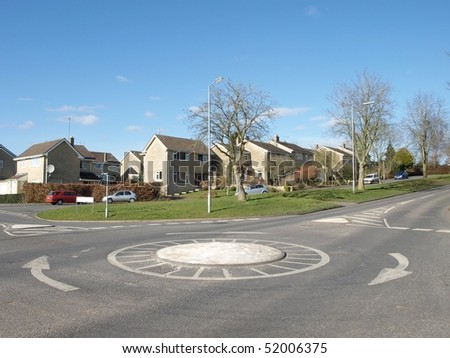 General View of a Road, Round About and Housing Estate