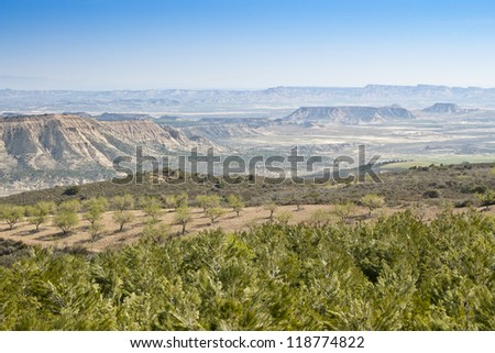 General view of Bardenas Reales, Navarre, Spain. The Bardenas Reales is a semi-desert natural region, or badlands, in southeast Navarre, Spain.