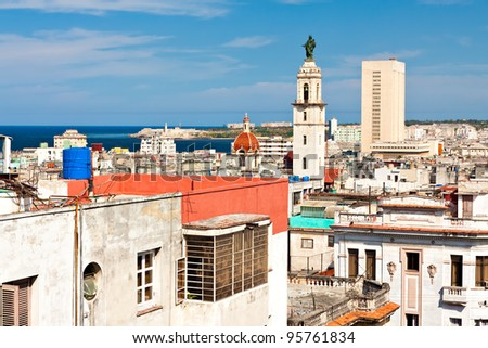 General view of Havana with the fortress of El Morro and the caribbean sea on the background