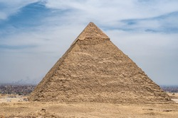 General view of pyramids from Giza Plato. Pyramid of Khafre second largest ancient Egyptian pyramid. Located next to Great Sphinx, as pyramids of Cheops Khufu and Mikerin Menkaura on the Giza Plateau.