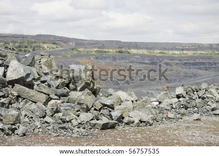 General view of the iron ore opencast mining