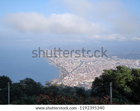 General view of the Ordu from Boz Hill (Gray Hill). Boz Hill (Gray Hill), Ordu, Turkey. #1192395340