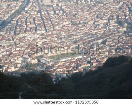 General view of the Ordu from Boz Hill (Gray Hill). Boz Hill (Gray Hill), Ordu, Turkey. #1192395358