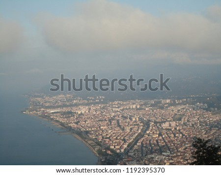 General view of the Ordu from Boz Hill (Gray Hill). Boz Hill (Gray Hill), Ordu, Turkey.