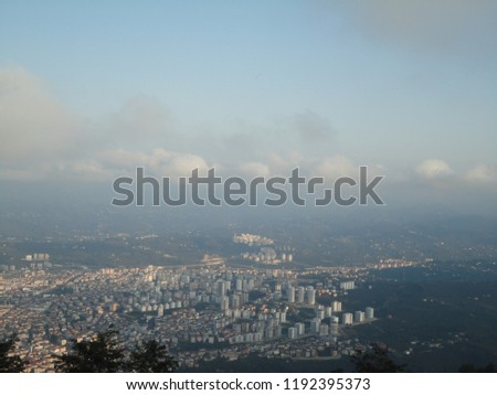 General view of the Ordu from Boz Hill (Gray Hill). Boz Hill (Gray Hill), Ordu, Turkey. #1192395373