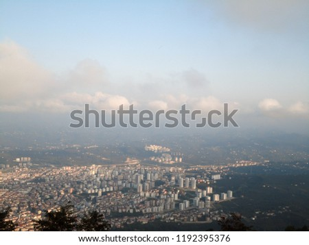 General view of the Ordu from Boz Hill (Gray Hill). Boz Hill (Gray Hill), Ordu, Turkey. #1192395376