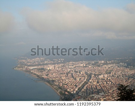 General view of the Ordu from Boz Hill (Gray Hill). Boz Hill (Gray Hill), Ordu, Turkey. #1192395379