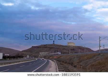 General view of the Polatlı intercity road and railway, Ankara, Turkey Stok fotoğraf ©