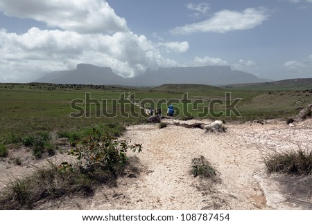 General view of the trails to the Roraima tepui - Venezuela, Latin America