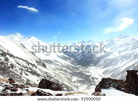 general view on Caucasus mountains