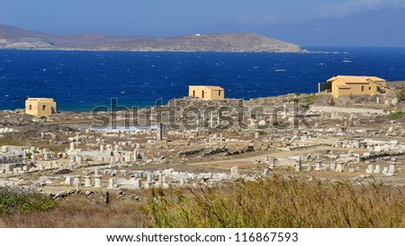 general view on island Delos,archelogical site in Greece