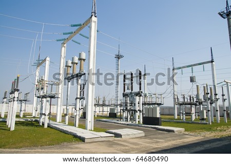 general view to high-voltage substation with switches and disconnectors