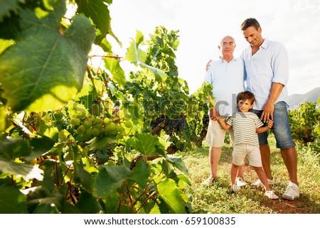 Generational family in vineyard
