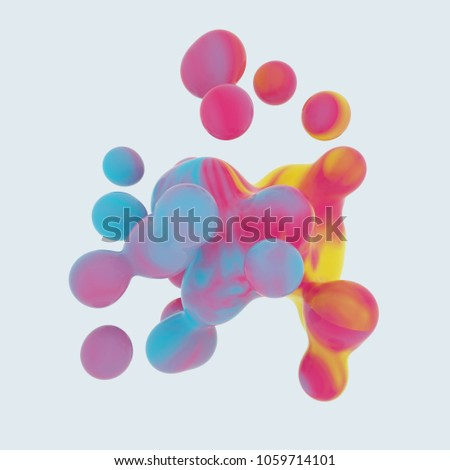 generative colorful 3D rendered metaball shape structure #1059714101