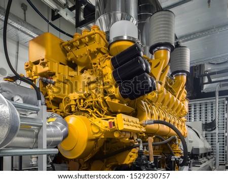 Generator. Diesel and gas industrial electric generator. Foto d'archivio ©