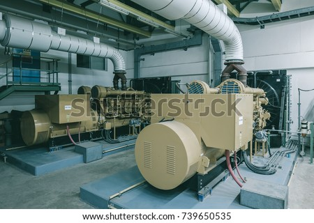 Generator room with two generators in factory standby for power backup, Diesel generator
