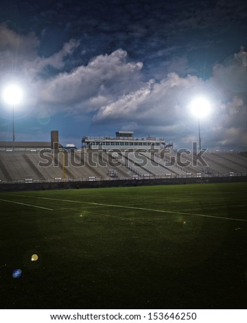 Generic American football and general sports stadium with vignette