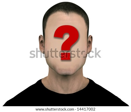 Generic anonymous unknown male with blank face. 3D illustration. Easily erase the question mark by painting over it with the flesh color. Includes clipping paths.