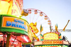Generic background of food stands at a traveling carnival