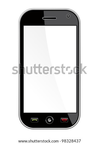Generic black smart phone isolated over white with blank space for your own design or image. Useful for mobile applications presentation.