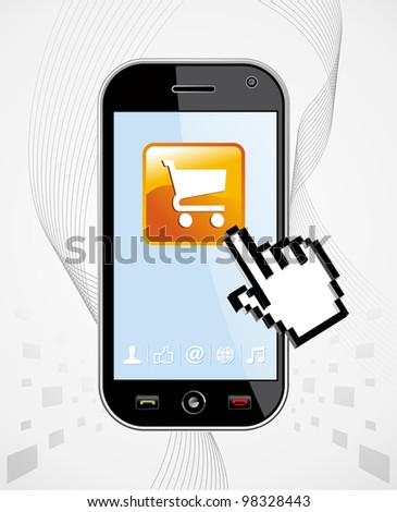 Generic black smart phone with buy app and hand cursor on white background useful for mobile applications presentation.