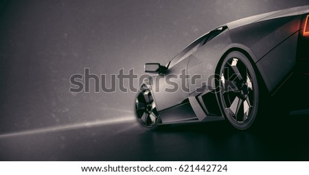 Generic brand less black matte sports car, rear detail (with grunge overlay) - 3d illustration