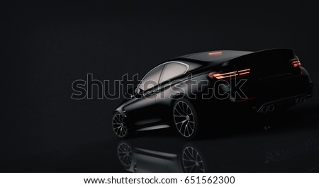 Shutterstock Generic brandless black car - rear view (with grunge overlay) - 3d illustration