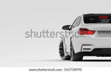 Generic brandless sports car taillights detail (with grunge overlay) - 3d illustration