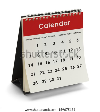 Generic Calendar With Days and Dates Isolated on White Background. #159675131